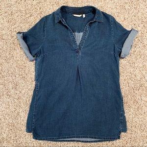 Soft Surroundings Denim Collared Shirt Dress